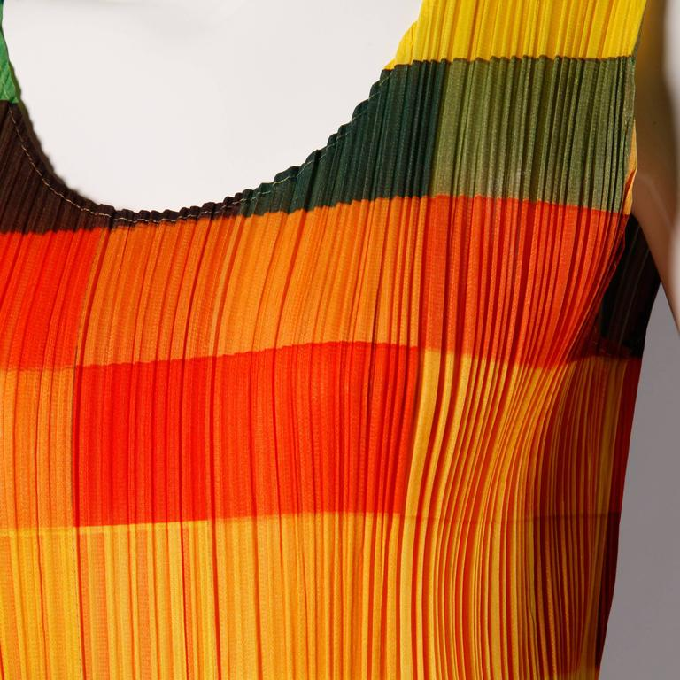Issey Miyake Pleats Please Avant Garde Checkered Maxi Dress with Side Slits For Sale 2