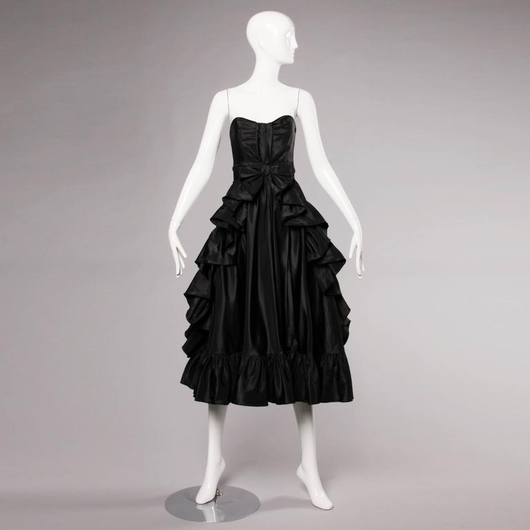 Jean Varon Vintage Strapless Black Taffeta Evening Dress with Ruffles and Bow For Sale 1