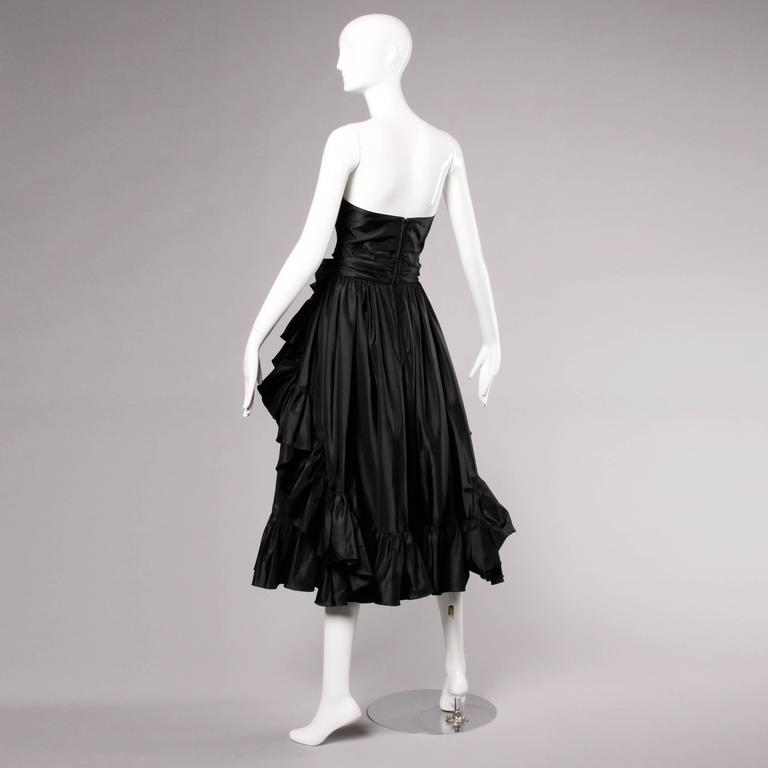 Jean Varon Vintage Strapless Black Taffeta Evening Dress with Ruffles and Bow For Sale 3