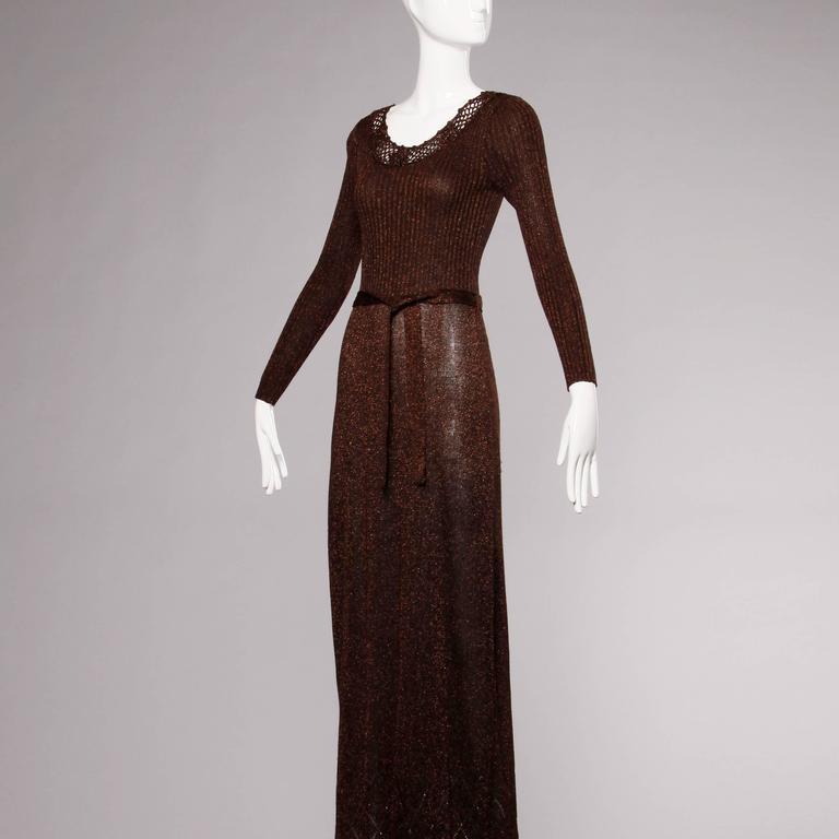 1970s Wenjilli Vintage Slinky Bronze Metallic Knit Maxi Dress with Crochet Trim For Sale 1