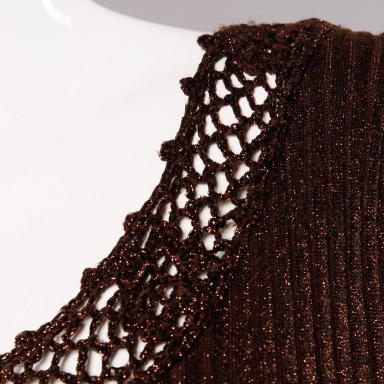 1970s Wenjilli Vintage Slinky Bronze Metallic Knit Maxi Dress with Crochet Trim For Sale 2