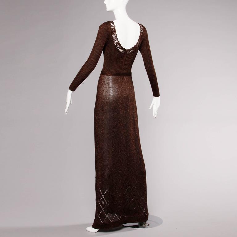 1970s Wenjilli Vintage Slinky Bronze Metallic Knit Maxi Dress with Crochet Trim 4