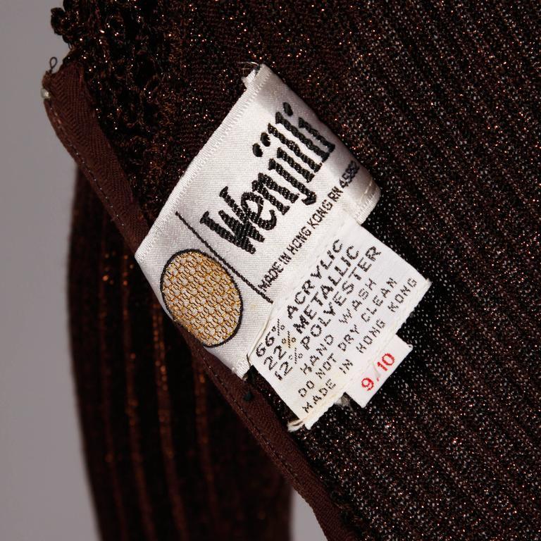 1970s Wenjilli Vintage Slinky Bronze Metallic Knit Maxi Dress with Crochet Trim 3