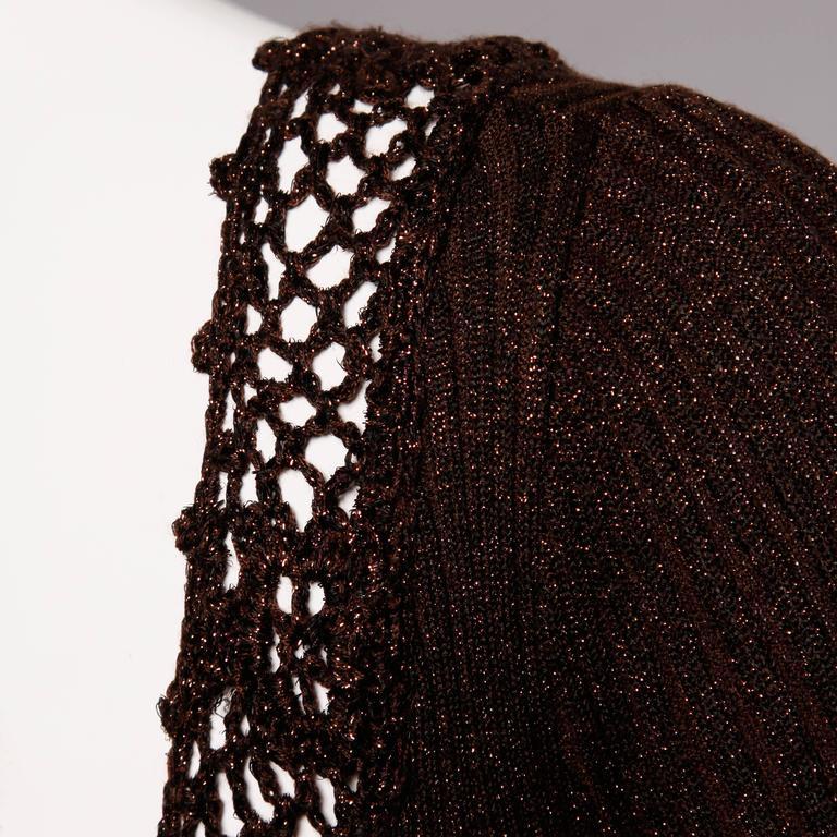 1970s Wenjilli Vintage Slinky Bronze Metallic Knit Maxi Dress with Crochet Trim 9
