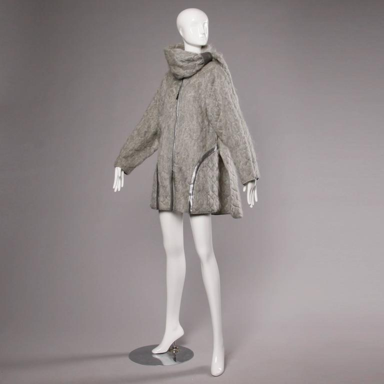 Claude Montana Vintage 1980s Mohair, Wool + Leather Oversized Cocoon Coat  2