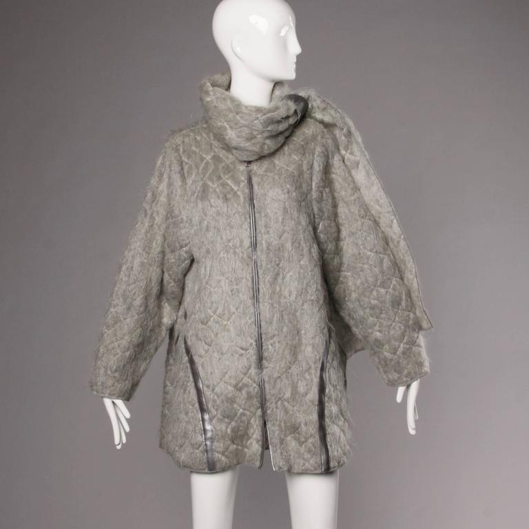 Claude Montana Vintage 1980s Mohair, Wool + Leather Oversized Cocoon Coat  10