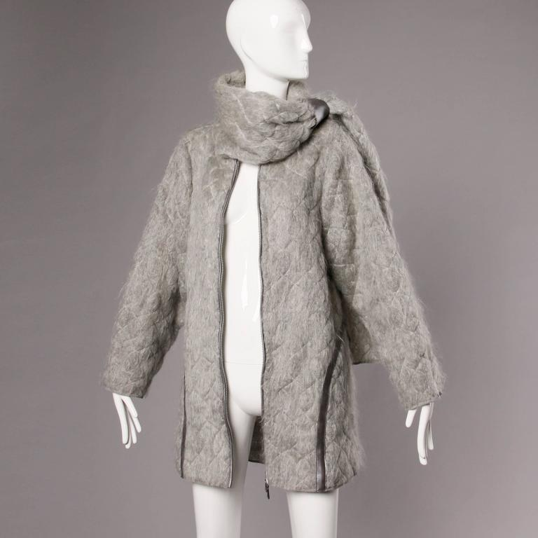 Claude Montana Vintage 1980s Mohair, Wool + Leather Oversized Cocoon Coat  6