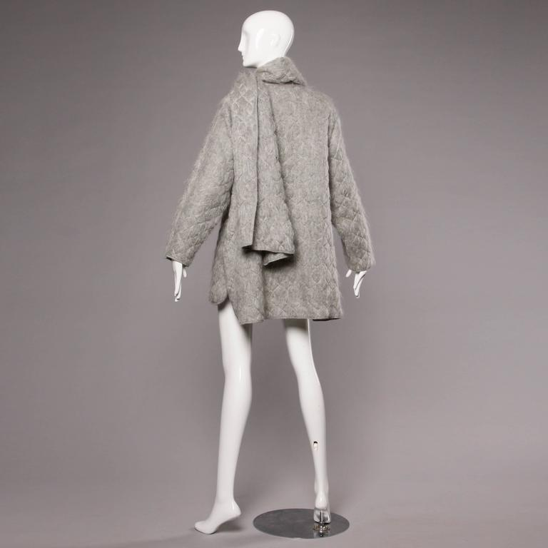 Claude Montana Vintage 1980s Mohair, Wool + Leather Oversized Cocoon Coat  4