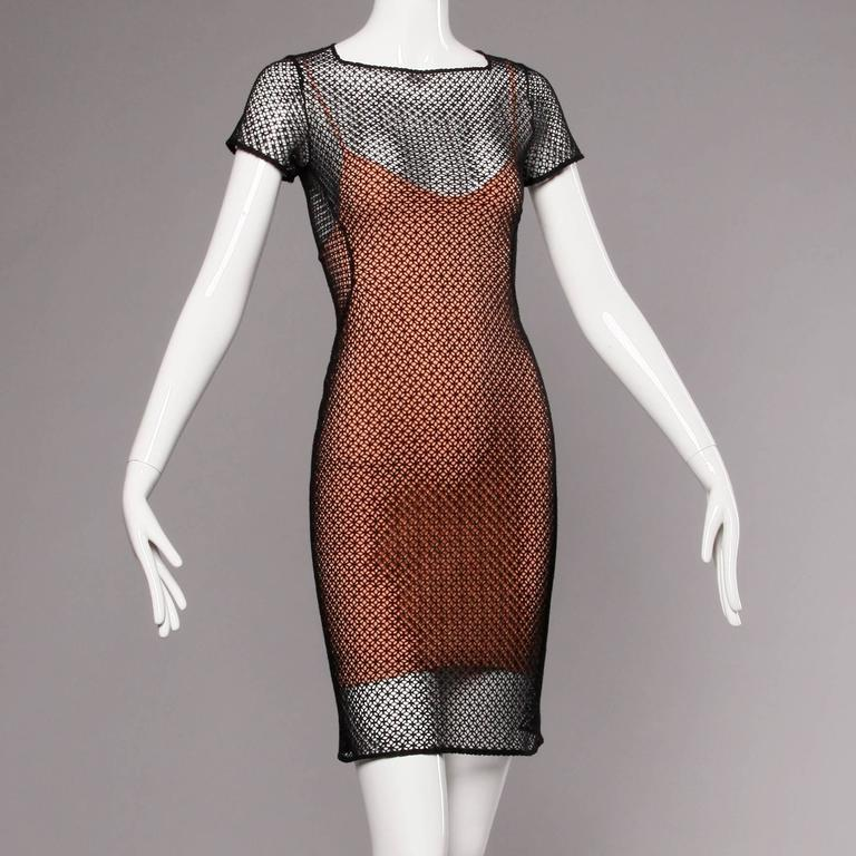 Alaia Unworn with Tags Sheer Balck Mesh Nude Illusion Two-Piece Body Con Dress 8