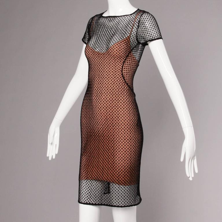 Women's Alaia Unworn with Tags Sheer Balck Mesh Nude Illusion Two-Piece Body Con Dress For Sale