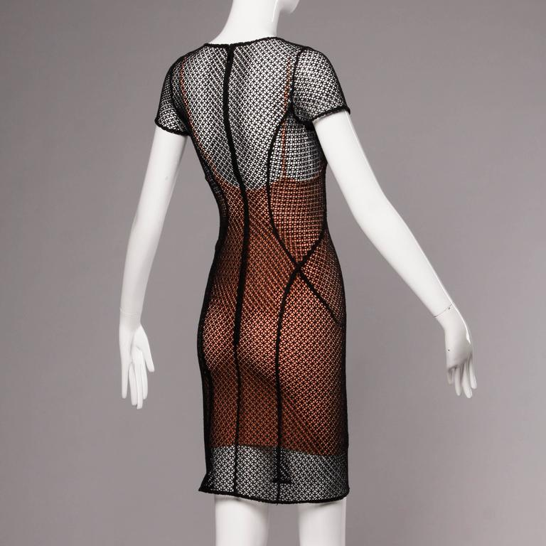 Brown Alaia Unworn with Tags Sheer Balck Mesh Nude Illusion Two-Piece Body Con Dress For Sale