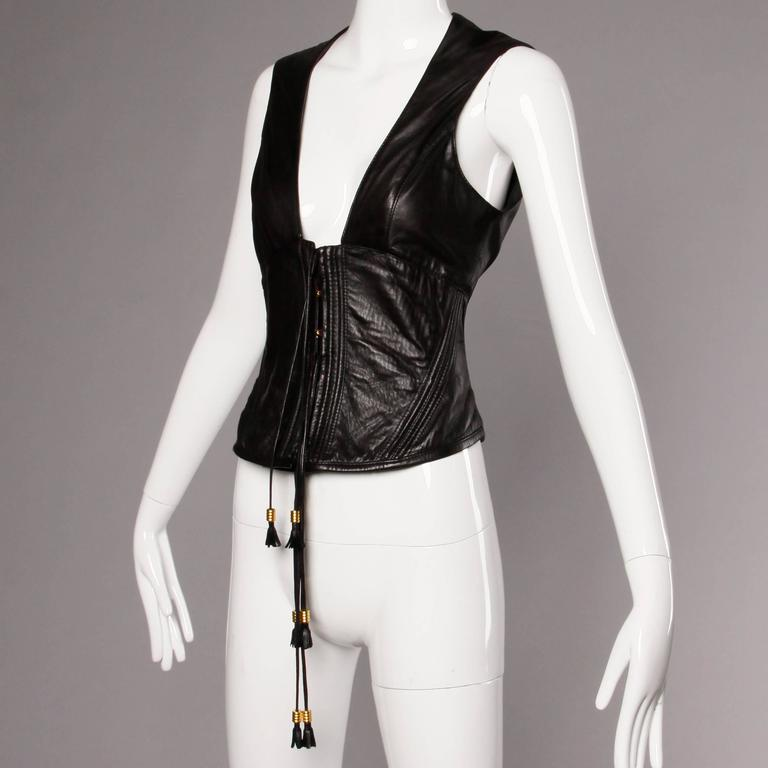 Gianfranco Ferre Vintage Buttery Soft Black Leather Lace Up Corset Top or Bustie 3