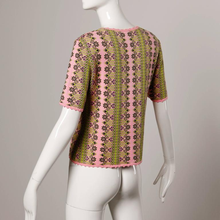 Brown Christian Lacroix Vintage Pink Knit Sweater Top For Sale