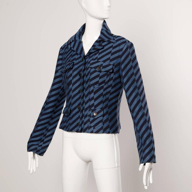 Purple Christian Lacroix Vintage Striped Two Tone Blue Military Jacket, 1980s  For Sale