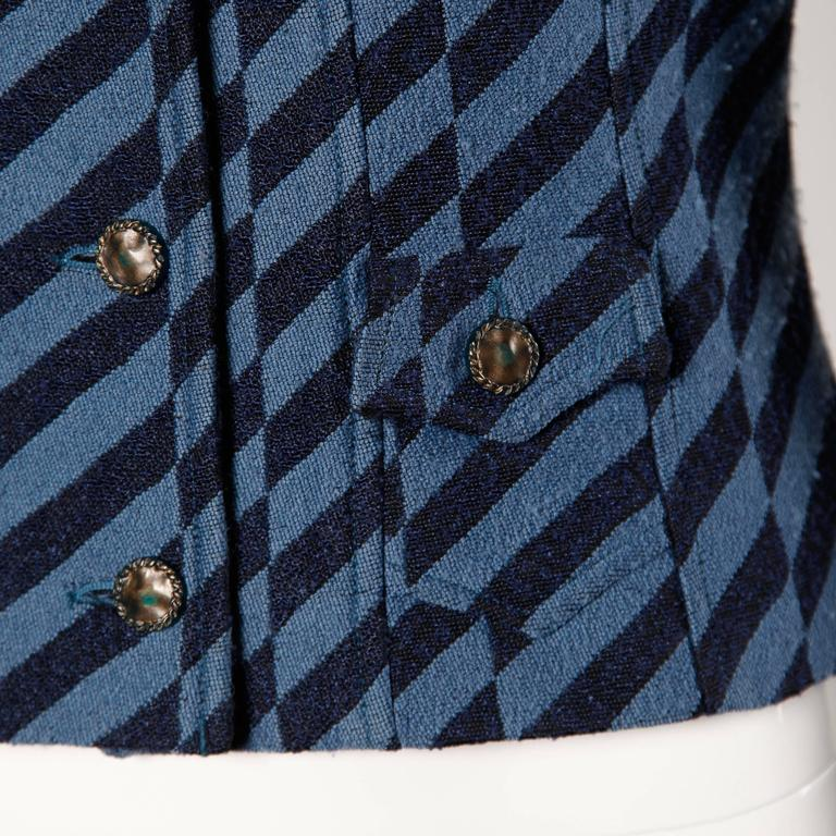 Christian Lacroix Vintage Striped Two Tone Blue Military Jacket, 1980s  In Excellent Condition For Sale In Sparks, NV