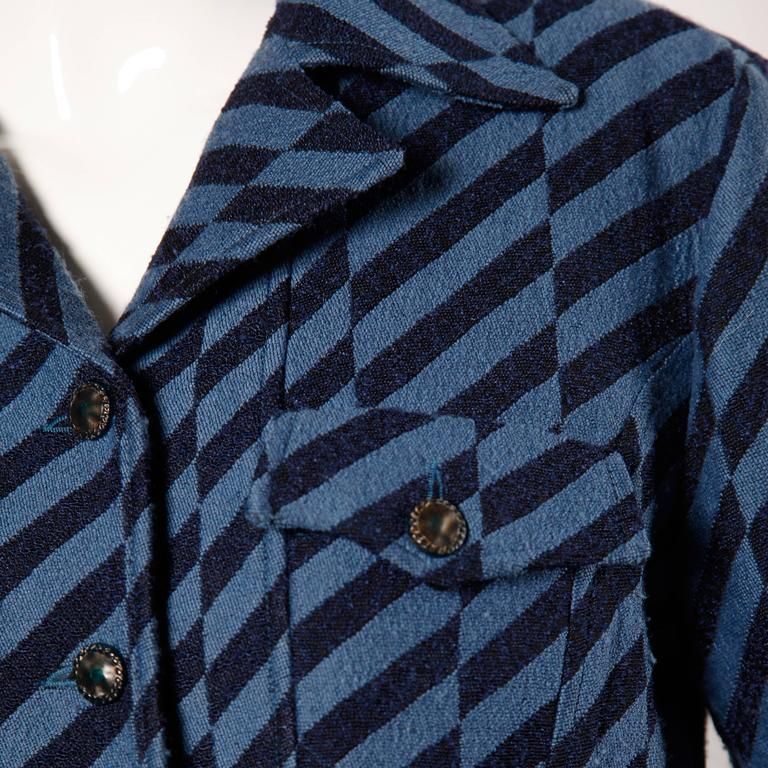 Women's Christian Lacroix Vintage Striped Two Tone Blue Military Jacket, 1980s  For Sale