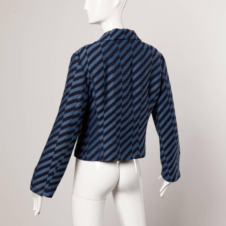 Christian Lacroix Vintage Striped Two Tone Blue Military Jacket, 1980s  For Sale 1