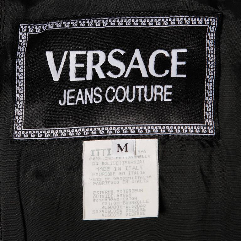 Gray Gianni Versace Vintage 1990s 90s Black + White Houndstooth Sporty Vest Jacket For Sale