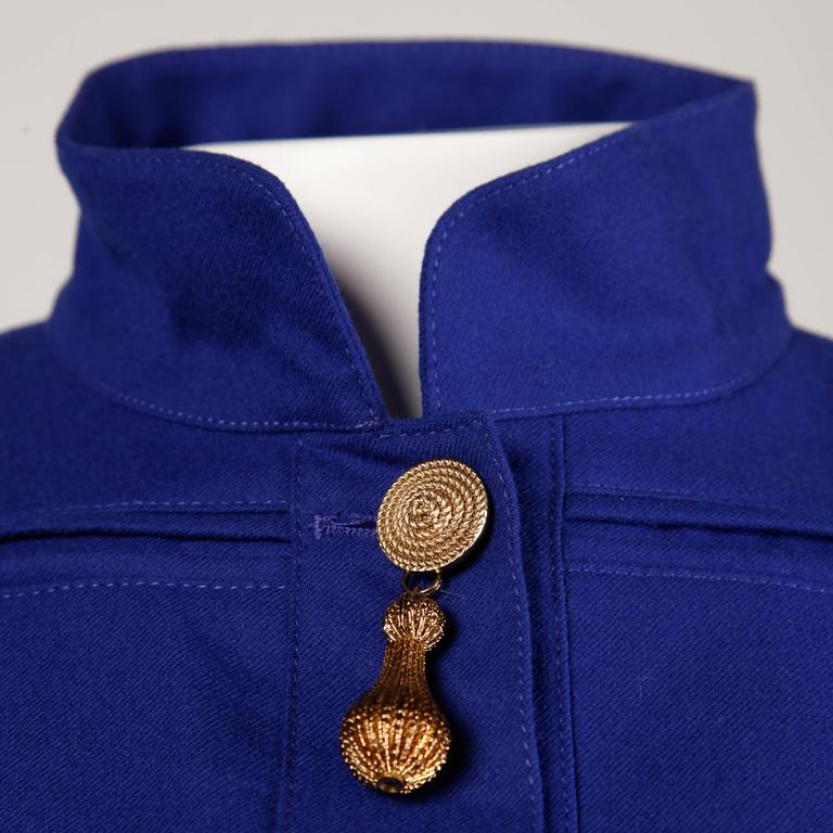 "Louis Feraud military-inspired jacket with gold-tone hardware and teardrop ""tassel"" charms.