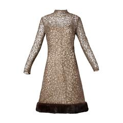 1960s Jack Kobren Vintage Silk + Mohair Dress with Mink Fur Trim