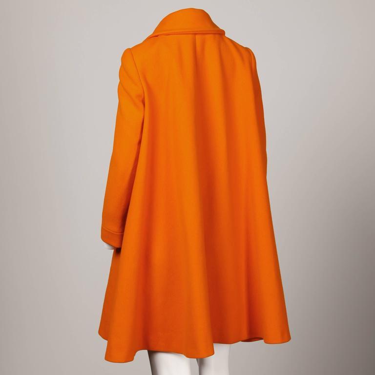 Mary Quant Vintage 1960s Mod Orange Wool Trapeze Swing