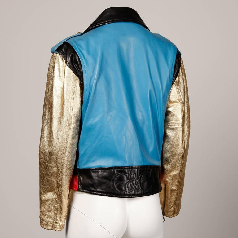 Women's Moschino Leather Vintage Metallic Gold Color Block Motorcycle Jacket, 1990s  For Sale