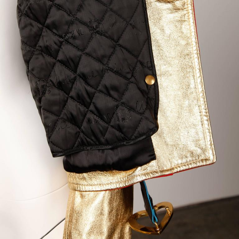 Moschino Leather Vintage Metallic Gold Color Block Motorcycle Jacket, 1990s  For Sale 2