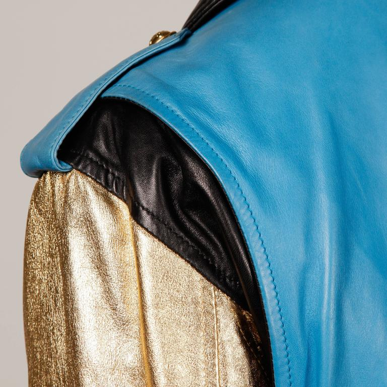 Moschino Leather Vintage Metallic Gold Color Block Motorcycle Jacket, 1990s  For Sale 4