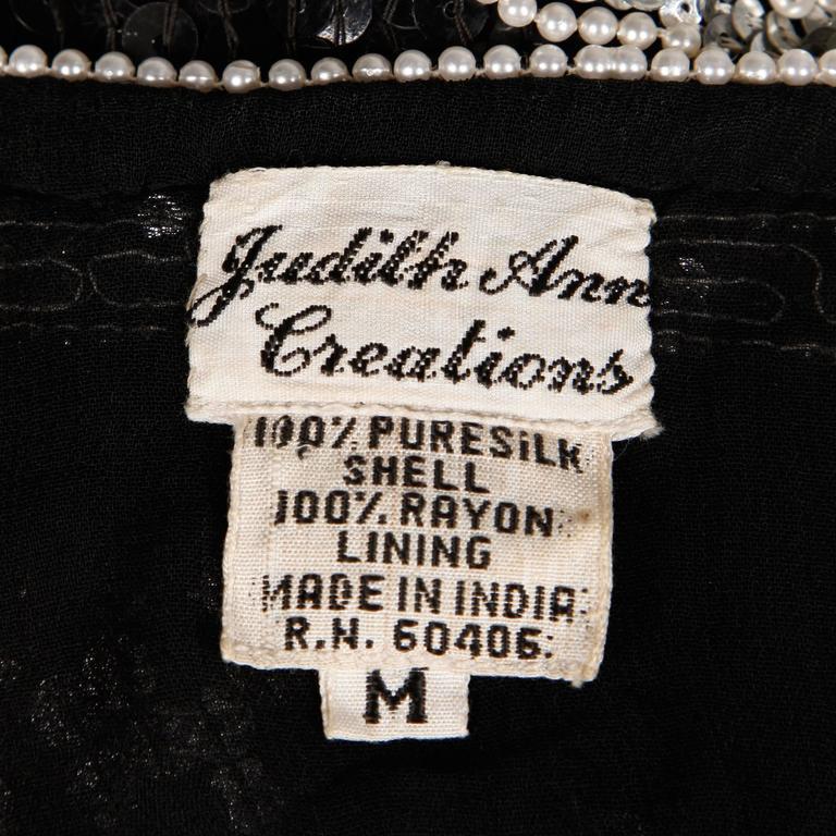 Gray Judith Ann Vintage Metallic Embellished Sequin + Beaded Dolman Silk Top For Sale