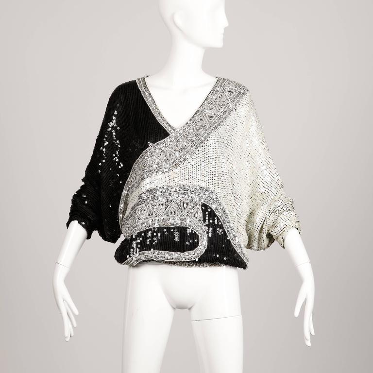 Women's Judith Ann Vintage Metallic Embellished Sequin + Beaded Dolman Silk Top For Sale