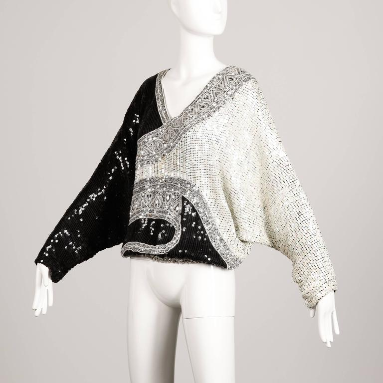 Judith Ann Vintage Metallic Embellished Sequin + Beaded Dolman Silk Top For Sale 2
