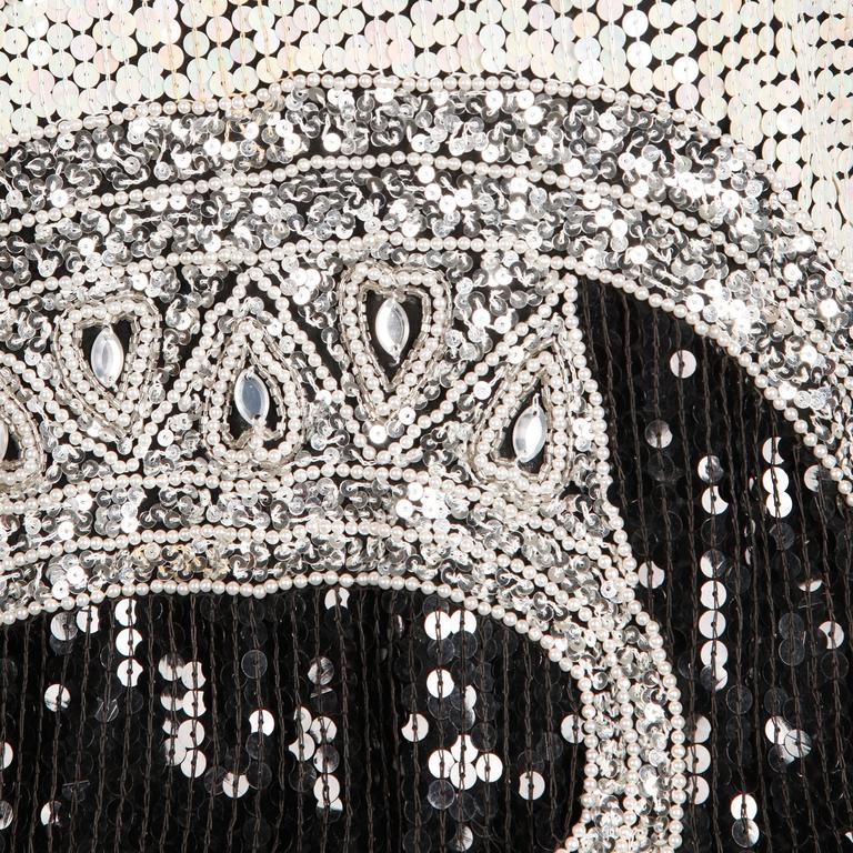 Judith Ann Vintage Metallic Embellished Sequin + Beaded Dolman Silk Top For Sale 1