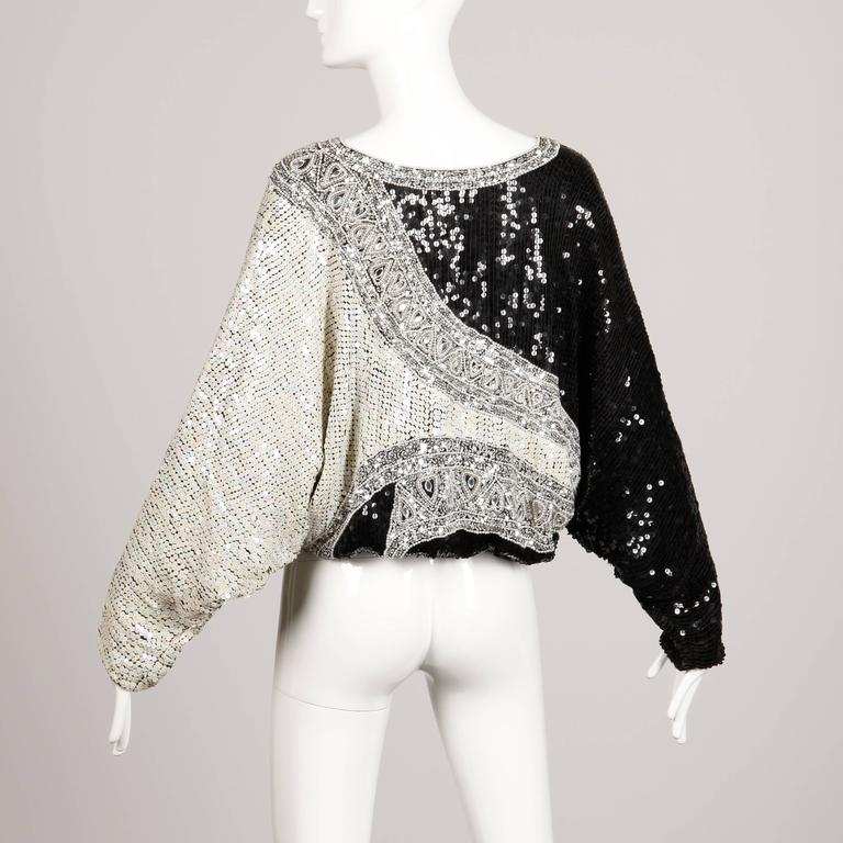 Judith Ann Vintage Metallic Embellished Sequin + Beaded Dolman Silk Top In Excellent Condition For Sale In Sparks, NV