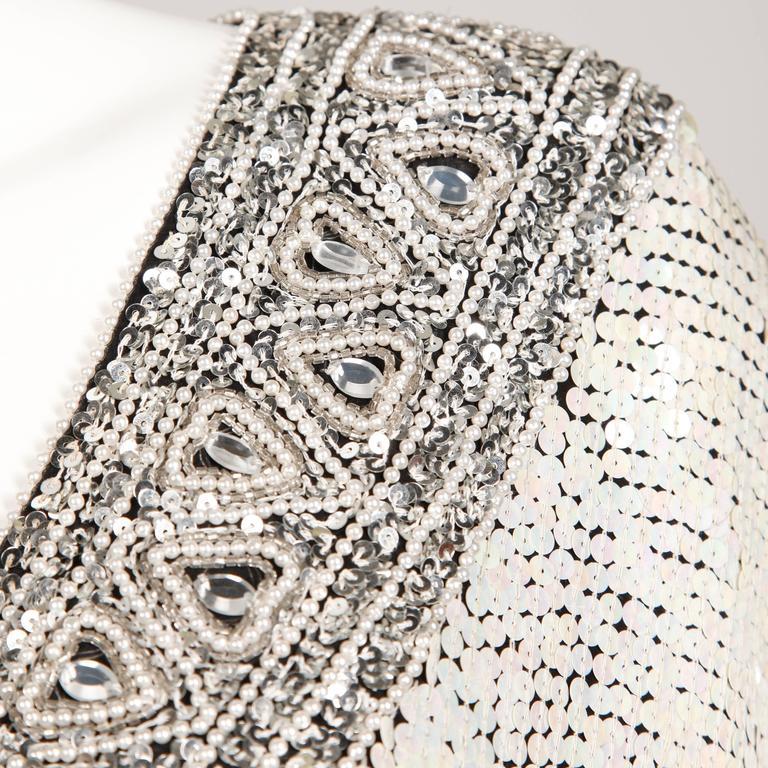 Judith Ann Vintage Metallic Embellished Sequin + Beaded Dolman Silk Top For Sale 3