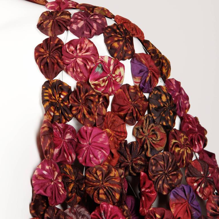 1970s Vintage Silk Ikat Handmade Fabric Yo-Yo Kimono Duster or Coat 1