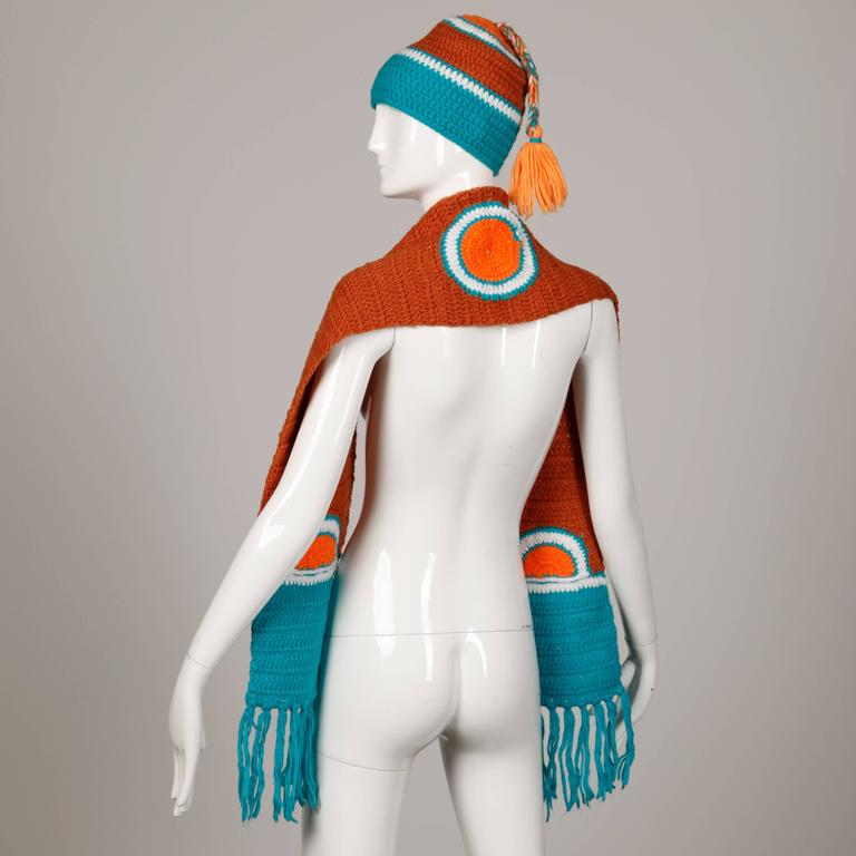 Rare Unworn 1970s Giorgio Sant'Angelo Colorful Knit Sweater Hat + Scarf Ensemble For Sale 1
