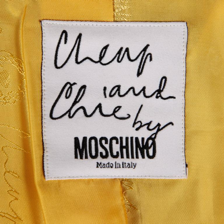 Beige Iconic Moschino Vintage 90s Pop Art Blazer Jacket with Lucky 13, Horseshoe + Cat For Sale