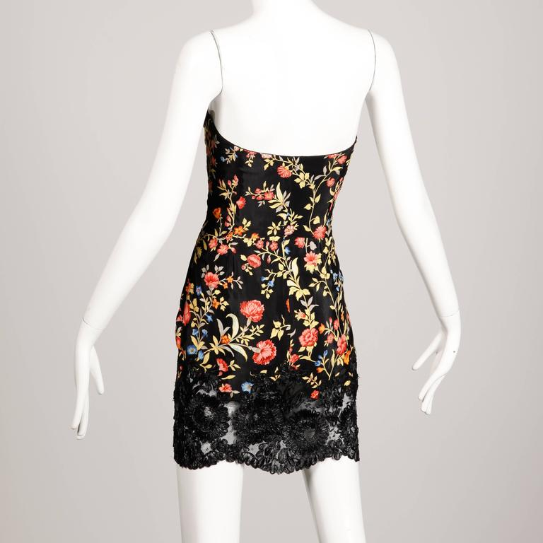 1990s Christian Lacroix Vintage Strapless Floral Print Mini Dress with Raffia  3
