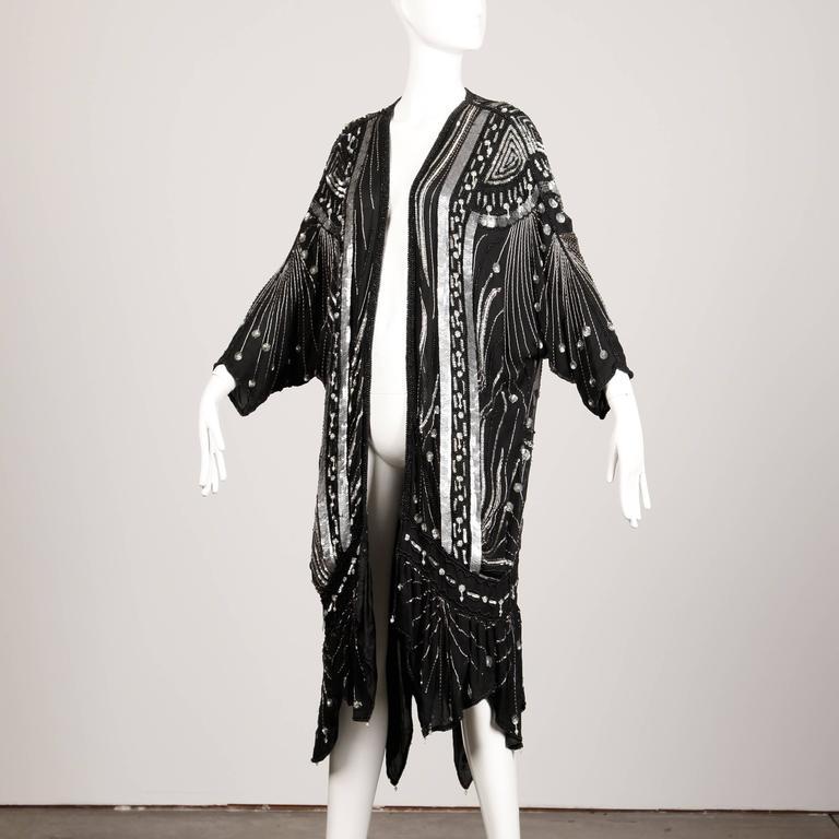 Women's Vintage 100% Silk Beaded Sequin Art Deco Kimono Duster Jacket or Coat For Sale
