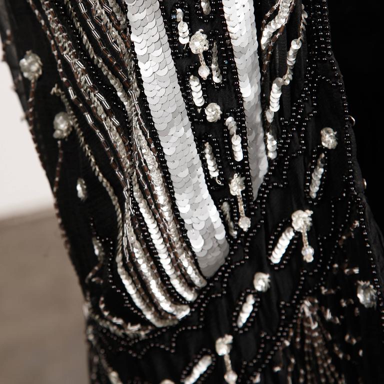 Vintage 100% Silk Beaded Sequin Art Deco Kimono Duster Jacket or Coat For Sale 1