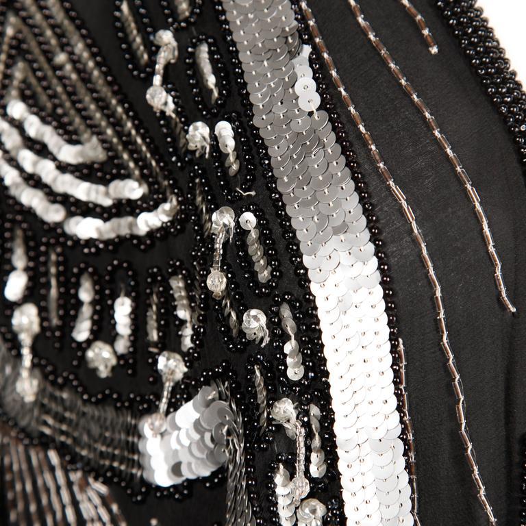 Vintage 100% Silk Beaded Sequin Art Deco Kimono Duster Jacket or Coat For Sale 3