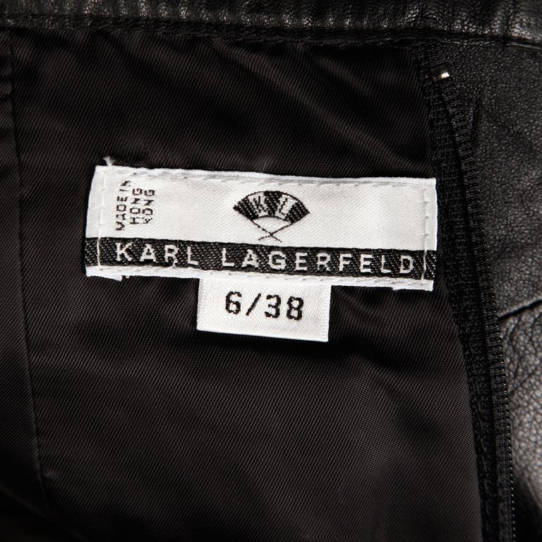 1990s Karl Lagerfeld Vintage Black Leather High Waist Pencil Skirt 26 Small In Excellent Condition For Sale In Sparks, NV