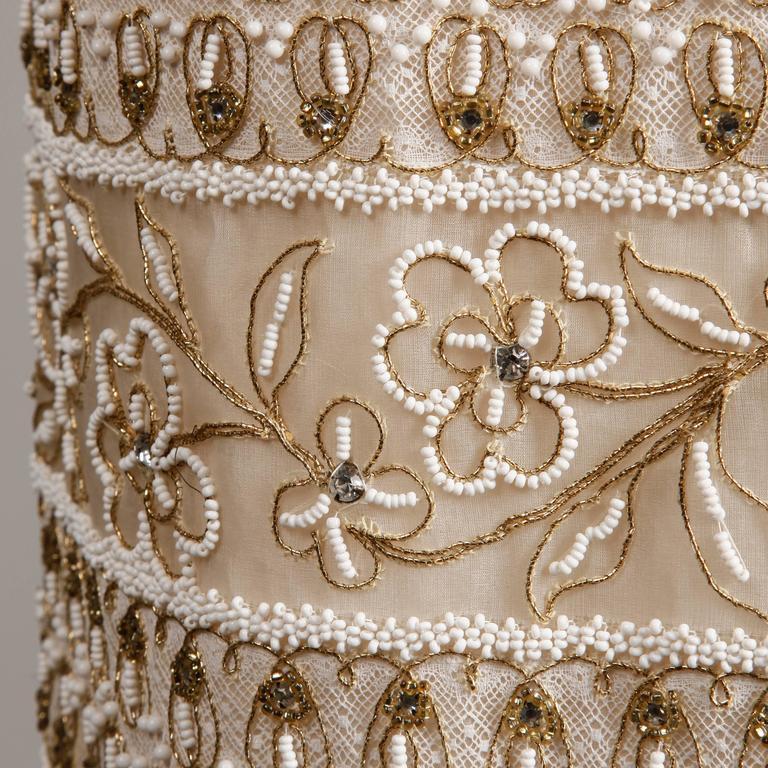 1960s Larry Aldrich Vintage Heavily Beaded Silk Dress With