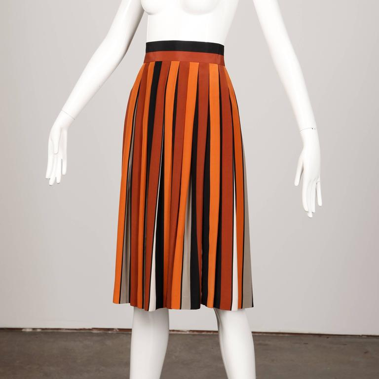 1970s Givenchy Vintage Pleated Silk Striped Color Block Black Rust Orange Skirt For Sale 1