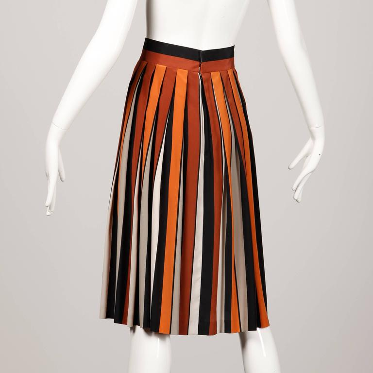 Red 1970s Givenchy Vintage Pleated Silk Striped Color Block Black Rust Orange Skirt For Sale