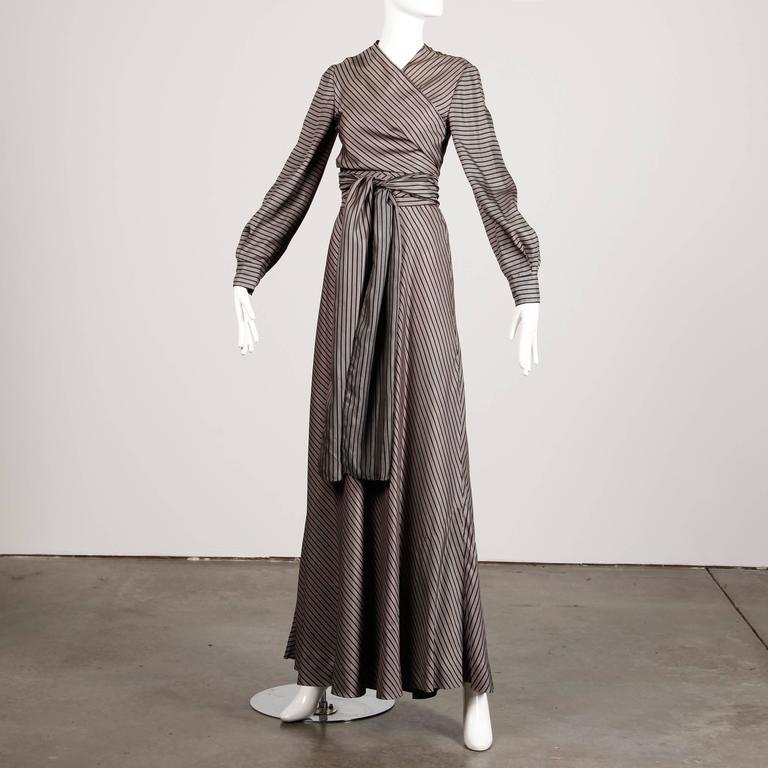 Jean Patou 1970s Vintage Silk Striped Wrap Top + Maxi Skirt Dress Ensemble 5