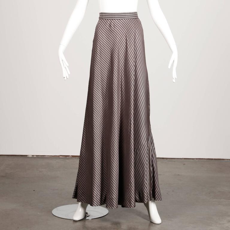 Jean Patou 1970s Vintage Silk Striped Wrap Top + Maxi Skirt Dress Ensemble 2