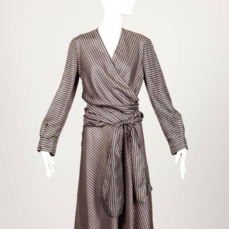 Jean Patou 1970s Vintage Silk Striped Wrap Top + Maxi Skirt Dress Ensemble 10
