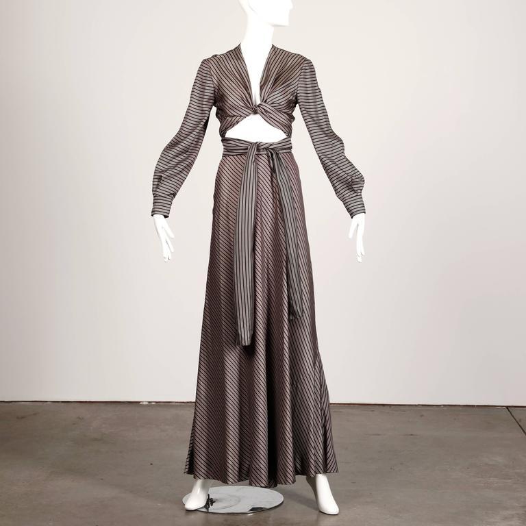 Jean Patou 1970s Vintage Silk Striped Wrap Top + Maxi Skirt Dress Ensemble 3