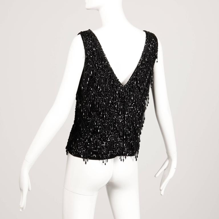 Macy's 1960s Vintage Black Sequin + Beaded Fringe Wool Knit Shell Top In Excellent Condition For Sale In Sparks, NV
